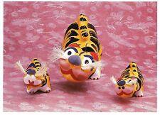 Postcard Painted Papier-Mache Tigers Japan c1960 Museum Int'l Folk Art Nm Mint