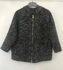 Ladies Lagenlook Quirky Pocket Zip Hood Batwing Jacket Size 16-20