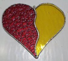 Fatto A MANO VETRO COLORATO Amore Cuore Suncatcher Rosso & Giallo Tecnica Tiffany