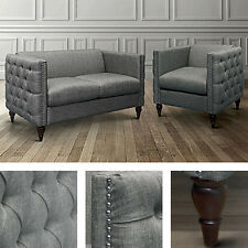 2pc Gray Living Room Set Loveseat Chair Linen Button Tufted Modern Wood Furnitur