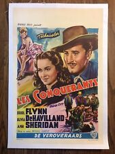 *DODGE CITY (1939) Errol Flynn & Olivia de Havilland Orig. Linen-Backed Poster
