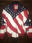 USA American Patriotic Flag Genuine Leather Bomber Style Jacket Unisex Sz Medium