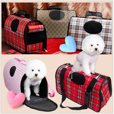 S Brown Pet Dog Cat Puppy Portable Travel Carry Carrier Tote Cage Crate + Strap