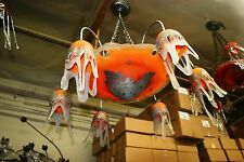 SIGNED ART DECO STYLE HAND CRAFTED GLASS CHANDELIER SILVERED PAINTING COATED