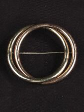 Vtg circle brooch signed Taylord gold filled pin copper rose tone 2""