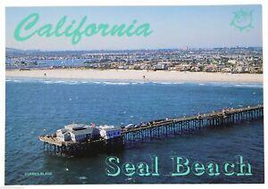 VTG CALIFORNIA POST CARD Seal Beach Pier Tourist Vacation Memento Travel Unused