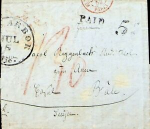FRANCE 1852 EARLY STAMPLESS ENTIRE LETTER FROM PARIS TO BALE SWITZERLAND