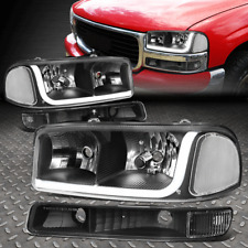 FOR 99-07 GMC SIERRA/YUKON LED DRL BLACK CLEAR HEADLIGHTS W/BUMPER SIGNAL LAMPS