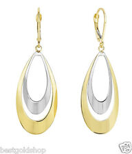 Graduated Double Tear Drop Dangle Earrings Leverback Real 14K Yellow White Gold