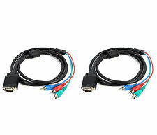 2x Cable Adaptador VGA SVGA a 3 x RCA RGB Video por Componentes Calidad HD 2211b