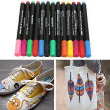 12 Multicolors Permanent Fabric Marker Pens T-Shirt Cloth ShoesTextile Paint DIY