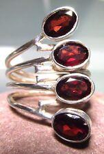 Sterling silver 4 cut red garnet gemstones ring UK L½-¾/US 6-6.25