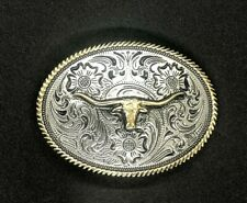Texas Longhorn Oval Metal Western Belt Buckle Silver And Gold Tone Filigree