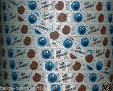 "5 Yards 3/8"" SESAME STREET COOKIE MONSTER GOT COOKIES GROSGRAIN Ribbon"