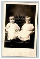 Vintage 1910's RPPC Postcard - Studio Portrait of Two Cute Children