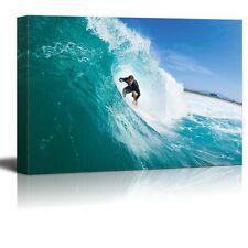 "Canvas Prints - Surfer Riding Large Blue Ocean Wave Extreme Sports - 32"" x 48"""