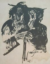MOSHE BERNSTEIN (1920-2006), Ink on Paper, Old Man with A Hat 2, Signed
