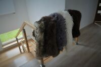 Sheepskin rug carpet real fluffy black white grey pink brown long hair