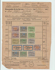 Germany 1923 document with  inflation revenue stamps