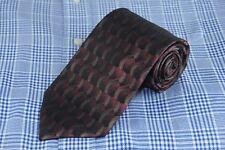 Platinum Designs Men's Tie Red & Brown Geometric Woven Silk Necktie 58 x 3.75