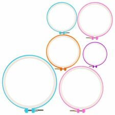 6 Pieces Embroidery Hoops Cross Stitch Hoop Circle Set for DIY Art Craft E6m1