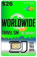 Worldwide Travel SIM Card - International Talk Text Data in Over 200 Countries