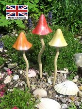 Garden Ornament Ceramic Timeless Toadstool set of 3 Summertime Shades