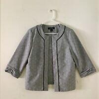 Women's Size 12 Perceptions New York Gray Open-Front Blazer 3/4 Sleeve New W/O T