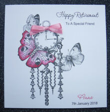 HANDMADE PERSONALISED RETIREMENT CARD,VINTAGE CLOCK