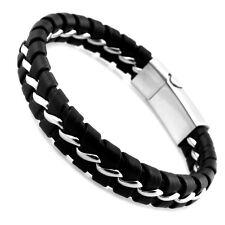Stylisches Leder Biker Edelstahl Magnet Armband Lederarmband silber schwarz 053