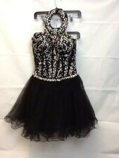Formal Short Dress Black With Sequence And Diamond Stud Accents No Tags
