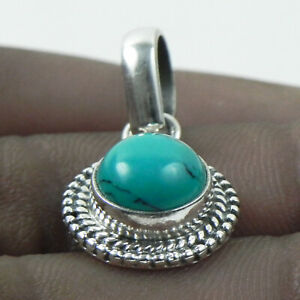 Fine Silver Handmade Pendant Necklace Turquoise Gemstone Female Jewelry FSP-1033