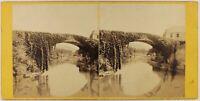 Francia Puente De Bétharram Foto c1865 Estéreo Vintage Albúmina