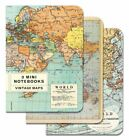 Cavallini - Set Mit 3 Mini Notizbücher - Vintage Welt Landkarten - Liniert,&