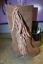 Reba Cowgirly BROWN Distressed Suede Fringe Mid Calf Cowboy Western Boots 7 M