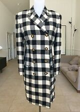 GIANNI VERSACE COUTURE black & white wool houndstooth coat size 10 from 1993