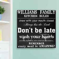 Family Kitchen Rules Personalized Canvas Wall Art Sign House Warming Home Decor