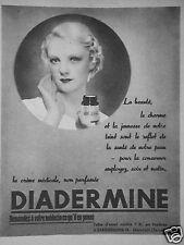PUBLICITÉ 1937 DIADERMINE LA CRÈME MÉDICALE NON PARFUMÉE - ADVERTISING