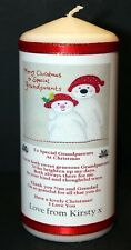 """Personalised gift  Grandparents Christmas candle large 6""""inch"""