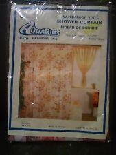 Vintage AQUARIUS Waterproof Vinyl Shower Curtain Pink Butterflies Floral Retro