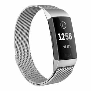 Fr Fitbit Charge 3 4 Wristband Metal Milanese Magnet Loop Watch Band Wrist Strap
