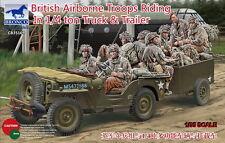 Bronco Model kit 1/35 British Airborne Troops Riding In 1/4ton Truck & Trailer