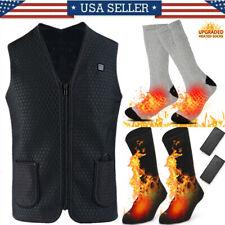 Heated Vest Warm Body Electric USB Heating Jacket Coat+Socks Winter Clothing Lot