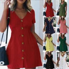 Women Summer Short Sleeve A Line V Neck Button Mini Dress Casual Short Sundress
