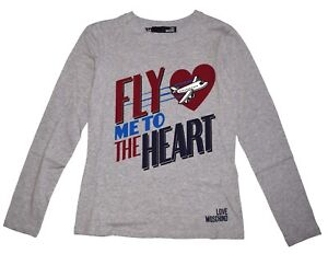 Love Moschino Fly Me To The Heart Womens Long Sleeve T Shirt size 8 NWOT