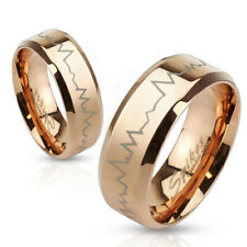 8mm Heartbeat Laser Etched Stainless Steel Rose Gold Ip Band Men's Ring