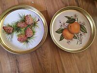 Set Of 2 Round Gold Metal Trays - Pine Cones & Oranges
