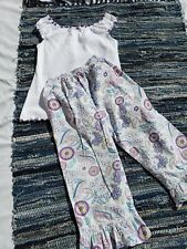 Girls Boutique Outfit Size 10 Zuccini White Purple Ruffles Paisley