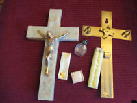 """Vintage RARE Last Rites Crucifix w Candles Holy Water Bottle  10"""" t x 6"""" w x2"""" d"""