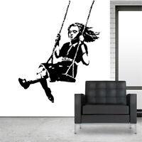 Banksy Swing Girl Wall Decal Removable Sticker Vinyl Decor Street Art Transfer